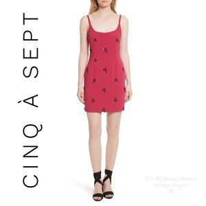 Cinq à Sept Gal Embroidered Lace Up Back Dress